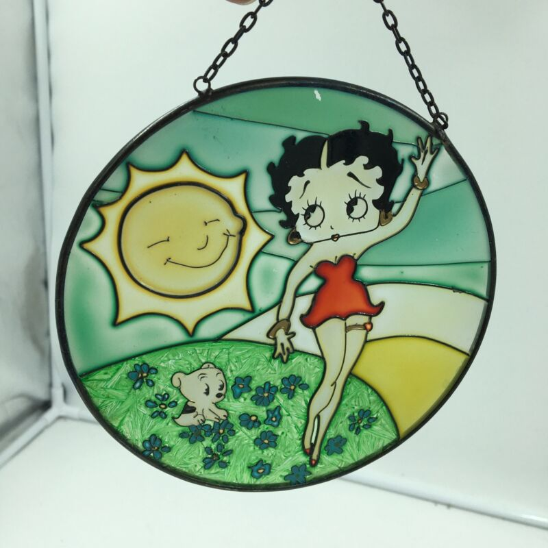 """Betty Boop Hanging Glass Sun Catcher w/ Smiling Sun and Pudgy 6"""" Diameter"""