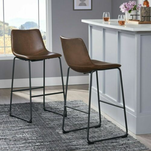 30-Inch Central Vintage Brown Bar Stool (Set of 2) Benches, Stools & Bar Stools