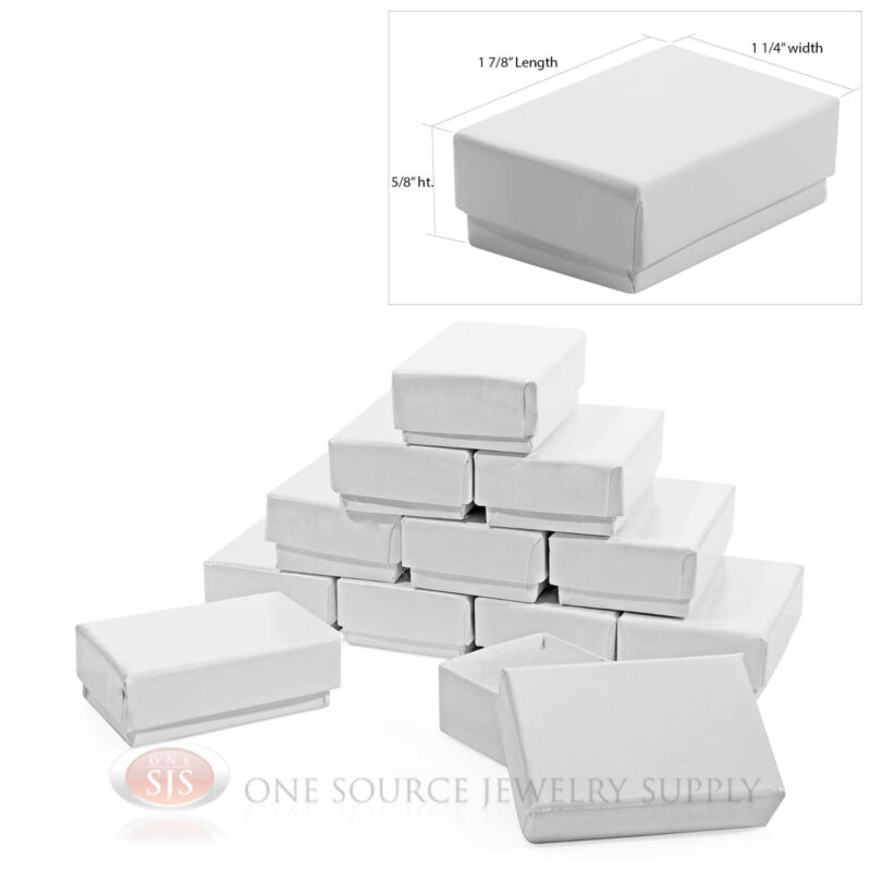 """12 Gloss White Cotton Filled Gift Boxes 1 7/8"""" x 1 1/4"""" Charm Ring Jewelry Box"""