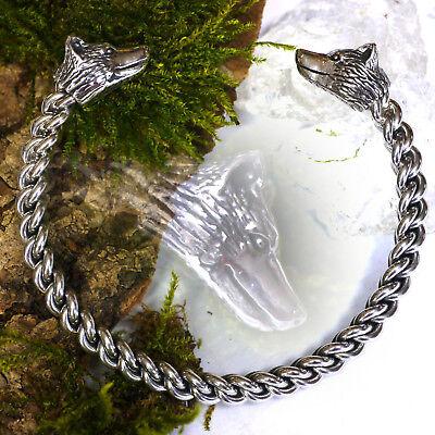 massiv 925 Silber Armreif L Wolfarmreif Wikinger Armspange Wolf Mittelalter LARP