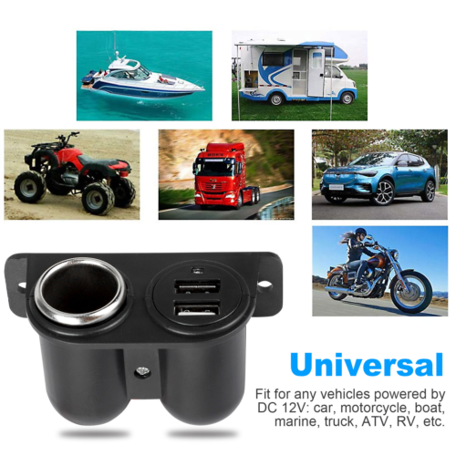 Auxiliary Dual USB Power Outlet DC 12V Socket Plug Adapter CarCigarette Lighter Adapters