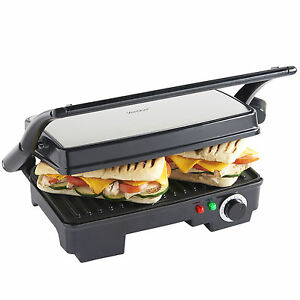 VonShef 2 Slice Panini Toasted Sandwich Toastie Maker & Health Grill 1500W