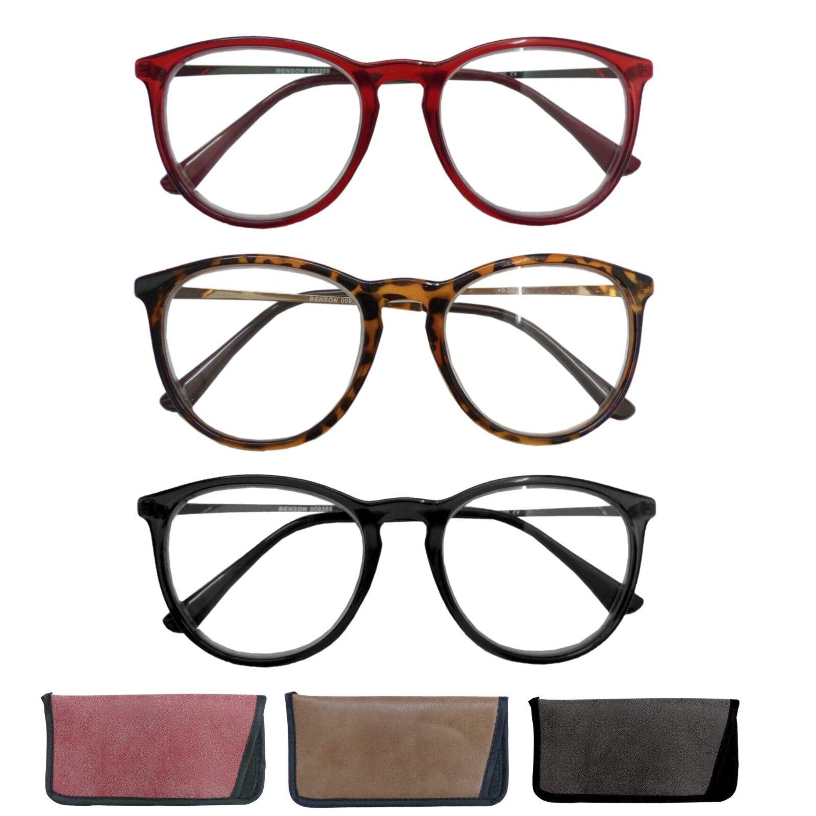 Große Lesebrille Nerdbrille Lesehilfe Inkl. Etui Sehhilfe BWD Schwarz Braun Rot