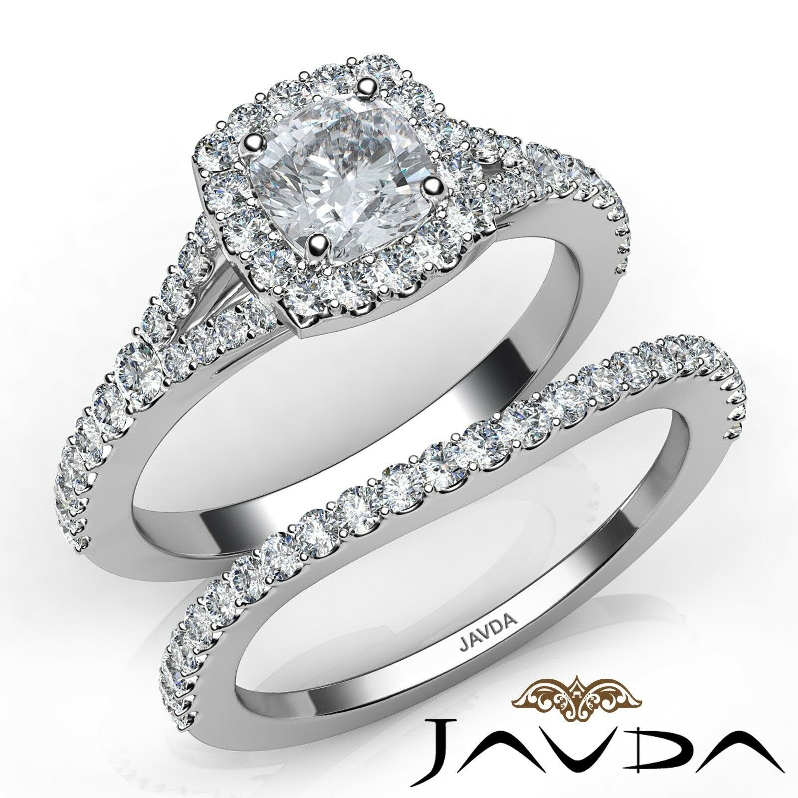 1.31ctw U Cut Pave Halo Bridal Cushion Diamond Engagement Ring GIA G-VS2 W Gold