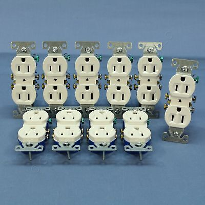 10 Cooper White Residential Duplex Outlet Receptacles NEMA 5-15R 15A 125V 270W