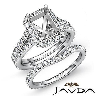 Radiant Diamond Semi Mount Engagement Ring Bridal Set 14k Gold White 1.70 ct.