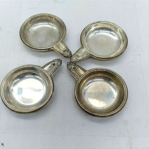 Sterling Silver Floral Repousse Nut Dishes Butter Pats Prelude Intl Lot of 4