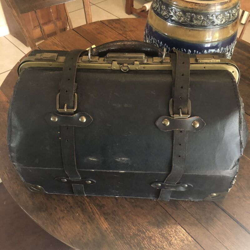 Vintage Antique Black Leather Medical Doctors House Call Bag Paisley Lining