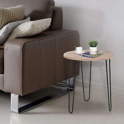 HOMCOM 39cm Wood Side Table Round Oak Nightstand for Living Room Balcony Bedroom
