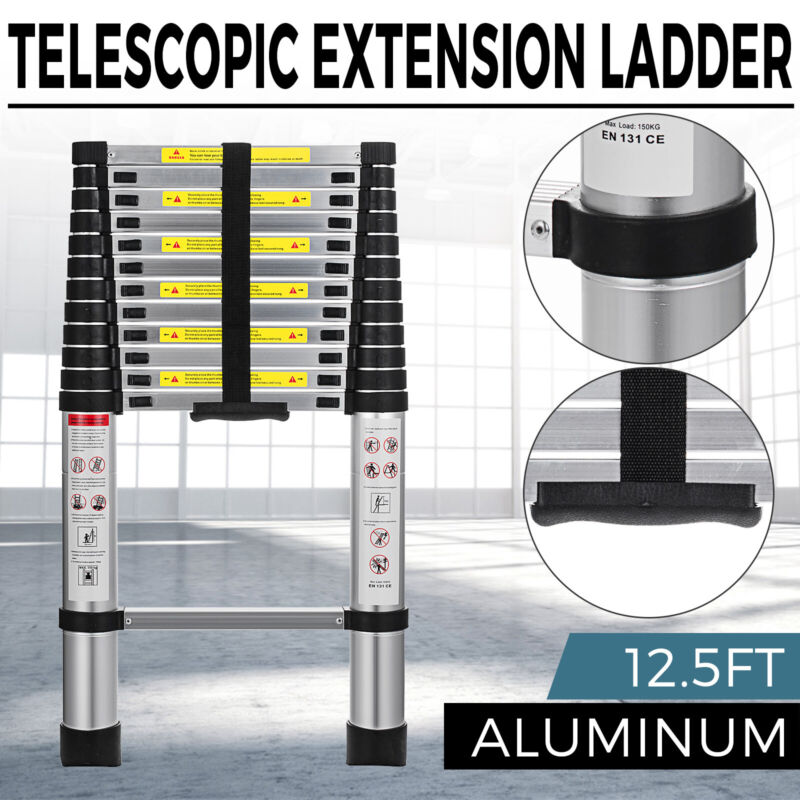 EN131 12.5FT Telescopic Extension Aluminum Step Ladder Folding Multi Purpose New