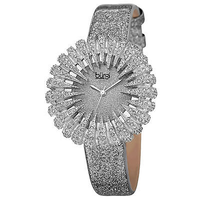 New Women's Burgi BUR112LP Dazzling Crystal Silver Sparkle Dial Strap Watch