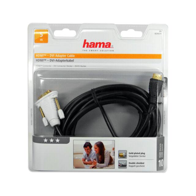Hama HDMI DVI Kabel Adapterkabel cable Connector vergoldete Stecker 5m 5 Meter