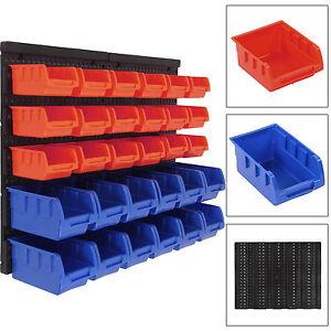 Plastic Bin Kit Wall Garage Storage Parts Bins Tool Small Parts Organizer Rack