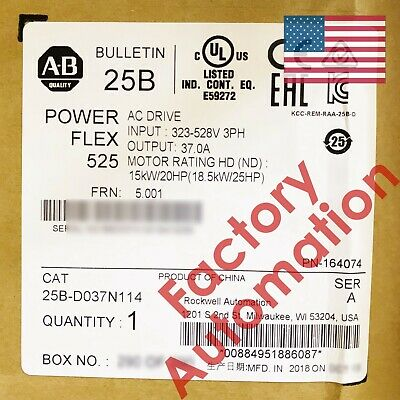 20182019 Us Stock Allen-bradley Powerflex 525 18.5kw 25hp Ac Drive 25b-d037n114
