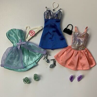 Genuine Barbie Fashion Clothing Accessories Lot of 3 Party Dresses and Shoes