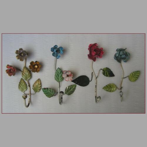 VINTAGE ITALIAN FLORENTINE METAL TOLE SET of 4 WALL HOOK FLOWERS 60