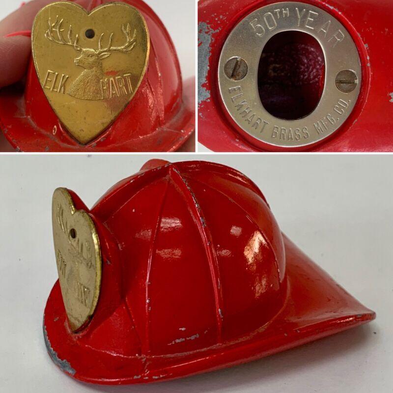 Vtg ELKHART BRASS Fire Helmet 1952 Bottle Opener c.1952 50th Anniversary Metal
