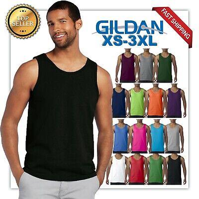 Gildan Tank Top Ultra Cotton Mens Workout Fitness gym Shirt Solid Color  5200 ()