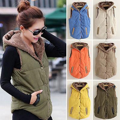 Womens Hooded Vest Coat Winter Warm Jacket Casual Sleeveless