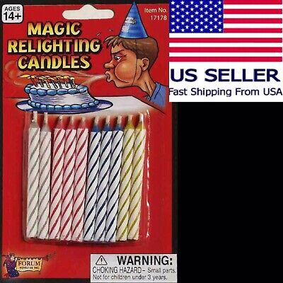 Striped Magic Relighting Trick Birthday Candles, Assorted 10ct