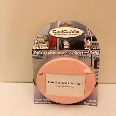 Pink Car Card Caddie Outdoor Indoor Business Card Holder New Made In Usa