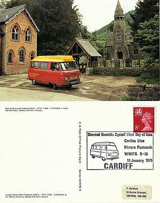 1979 LLANDRINDOD WELLS POSTBUS WMPB 9 POSTCARD CARDIFF SHS