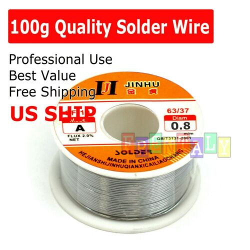 "100G 60-40 Tin Lead Rosin Core Solder Wire Soldering Sn60 Pb40 Flux .039""/0.8mm"