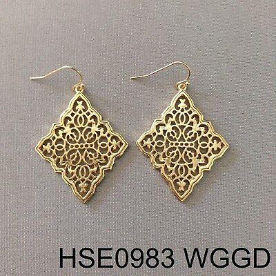 Gold Finish Diamond Shape Filigree Cut Out Design Drop Dangle Hook Earrings -