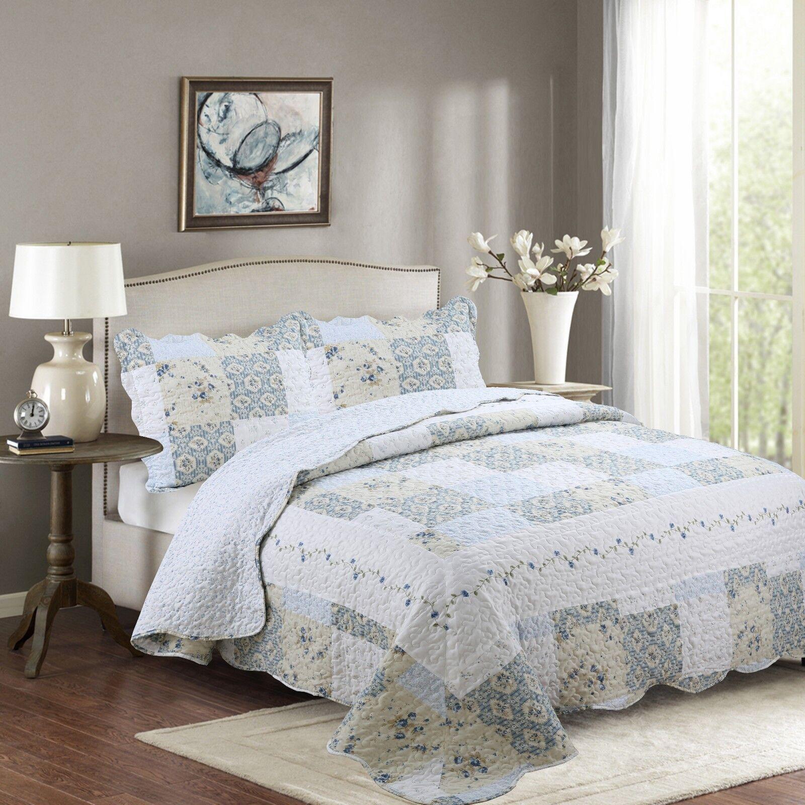 reversible bedspread floral off white blue beige