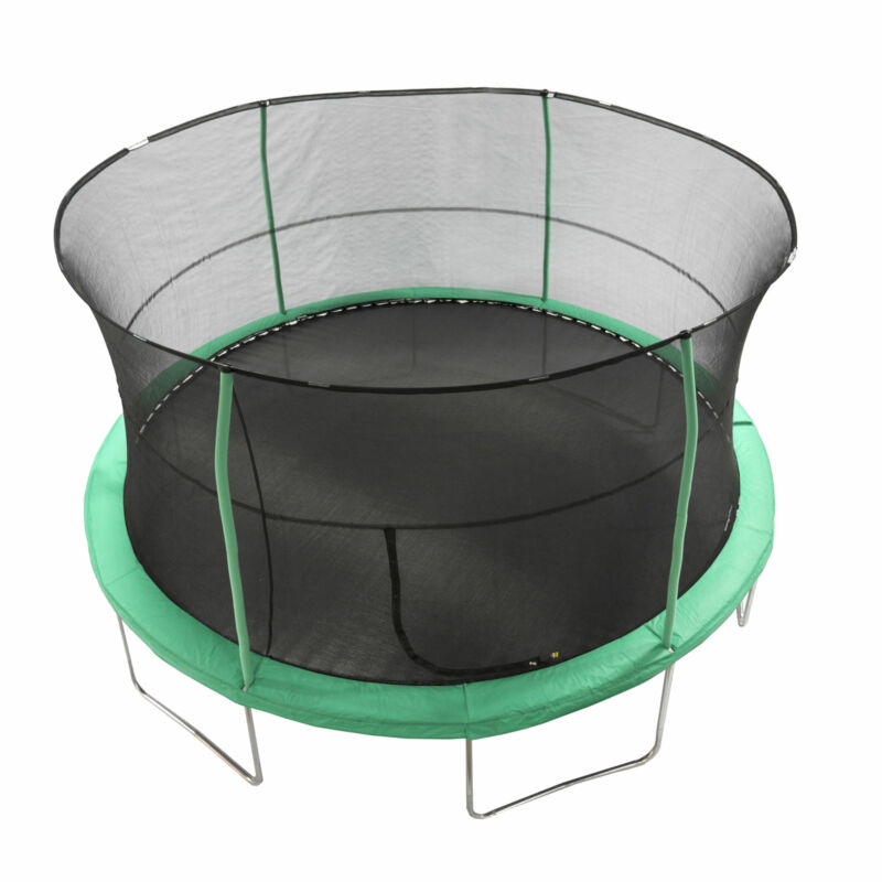 JumpKing JK1418C2 14 Foot Padded Enclosed Round Trampoline with G3 Poles, Green