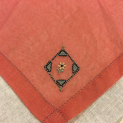 Vintage Linen ? Coral Embroidered Daisy Floral Handkerchief Hankie Hanky #A14