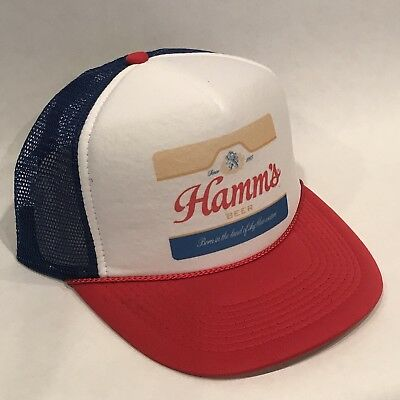 Red Party Hat (Hamms Premium Beer Trucker Hat Vintage Snapback Party Bear Cap Red White)