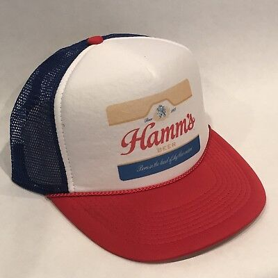 Hamms Premium Beer Trucker Hat Vintage Snapback Party Bear Cap Red White Blue - Red Party Hat