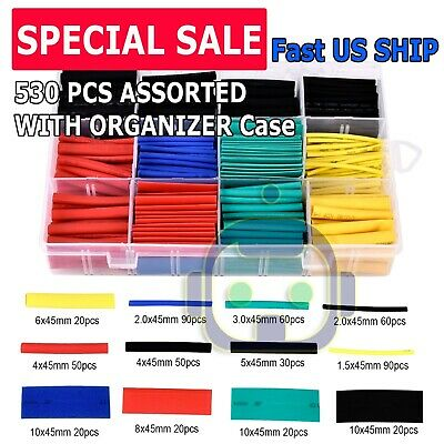 530pcs Heat Shrink Tubing Insulation Shrinkable Tube 21 Wire Cable Sleeve Kit