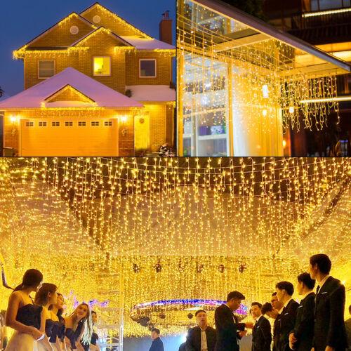 LED Eisregen Lichterkette Vorhang Außen Eiszapfen 200/400/600 LEDs Warmweiß + FB