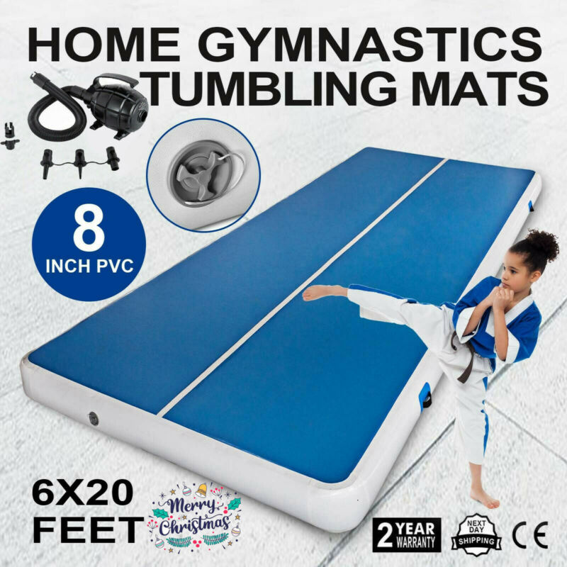 """20 FT 8""""Thick Air Track Tumbling Inflatable Mat Gymnastic Yoga Training Fitness"""