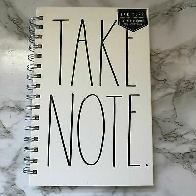Rae Dunn Take Note Spiral Notebook Journal Hardback White 160 Lined -