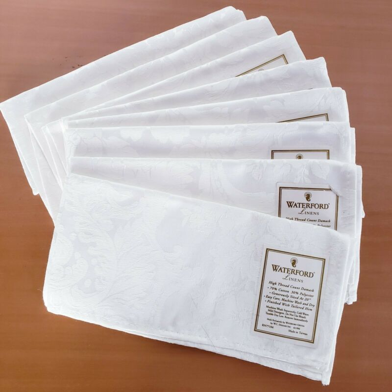 """NWT Vintage WATERFORD Linens White Damask 20"""" Square Napkins Set of 8"""