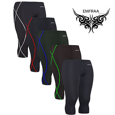 EMFRAA mens womens Skin compression 3/4 length Tights Pants S~2XL  3/4 Length Womens Tights