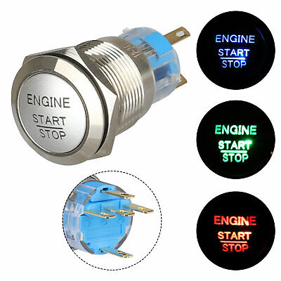 12v 19mm 34waterproof Momentary Engine Metal Push Button Switch Blue Led Light