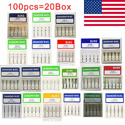 100pcs20 Box Dental Diamond Burs For High Speed Handpiece Medium Fg 1.6mm Multi