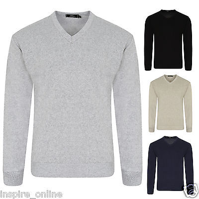 Mens Cotton V neck Jumper Knitted Sweater Pullover Casual Formal Long Sleeve Top