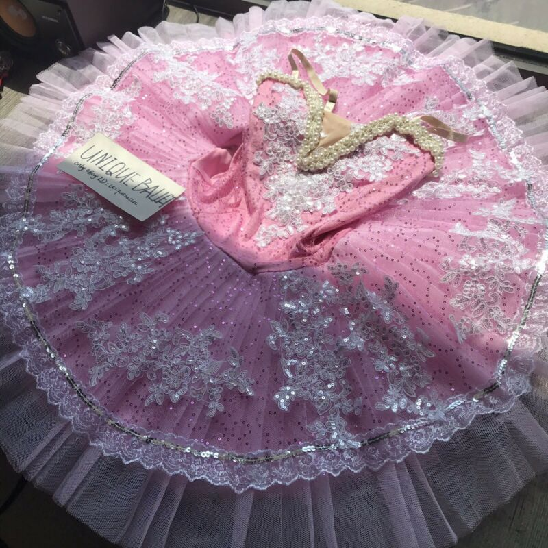 Adult Classic Ballet Tutu Costume Pink Kids Ballerina Dance Platter Dress