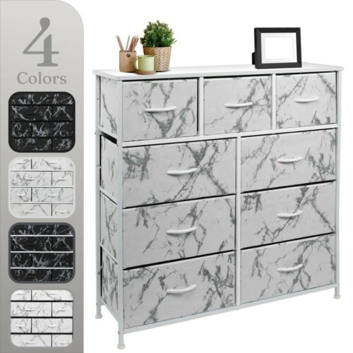 Sorbus Dresser W/ 9 Drawers - Bedroom Chest Furniture Tower - Marble Collection