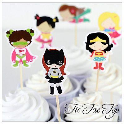 💥12X Superhero Girls Cupcake Topper Pick. Batgirl, Wonder Woman Party (Batgirl Party Supplies)