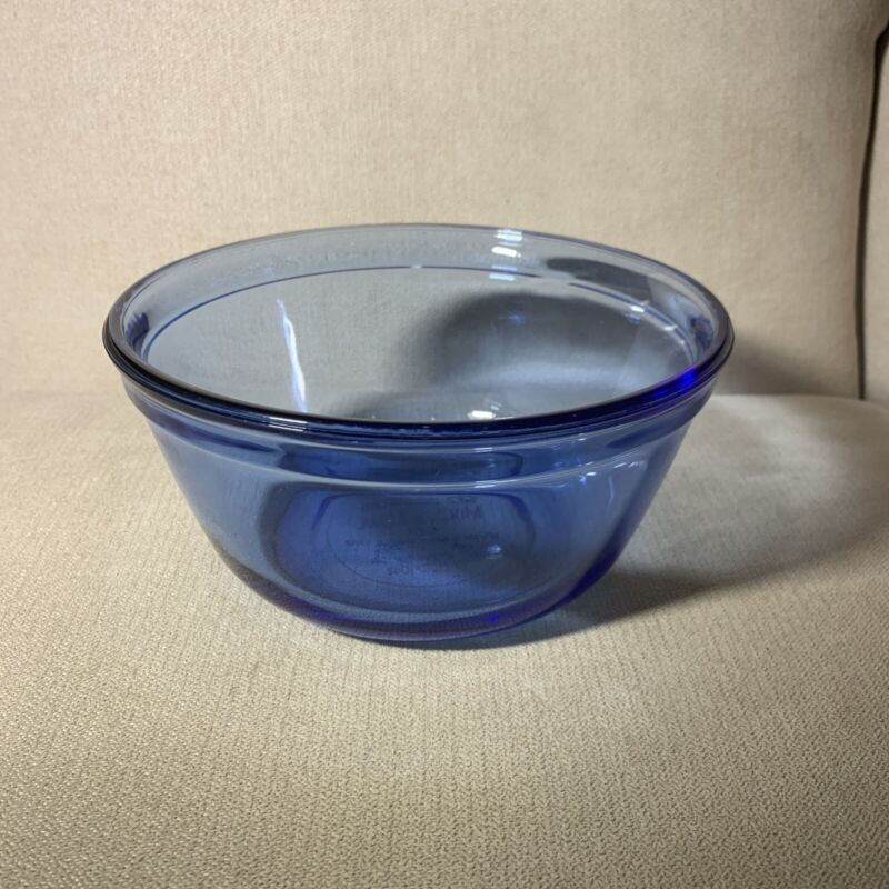 Anchor Ovenware Cobalt Blue Glass Small Mixing Nesting Bowl 1 Quart # 1056