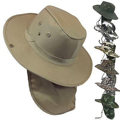 Military CAMO Boonie Bush Fishing Hiking Snap Brim Neck Flap Sun Cover Hat Cap