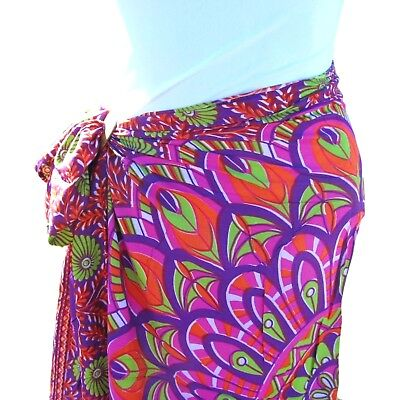 Purple Floral Print Sarong Pareo Scarf Wrap Full Size Rayon Beach Cover up  Floral Print Pareo