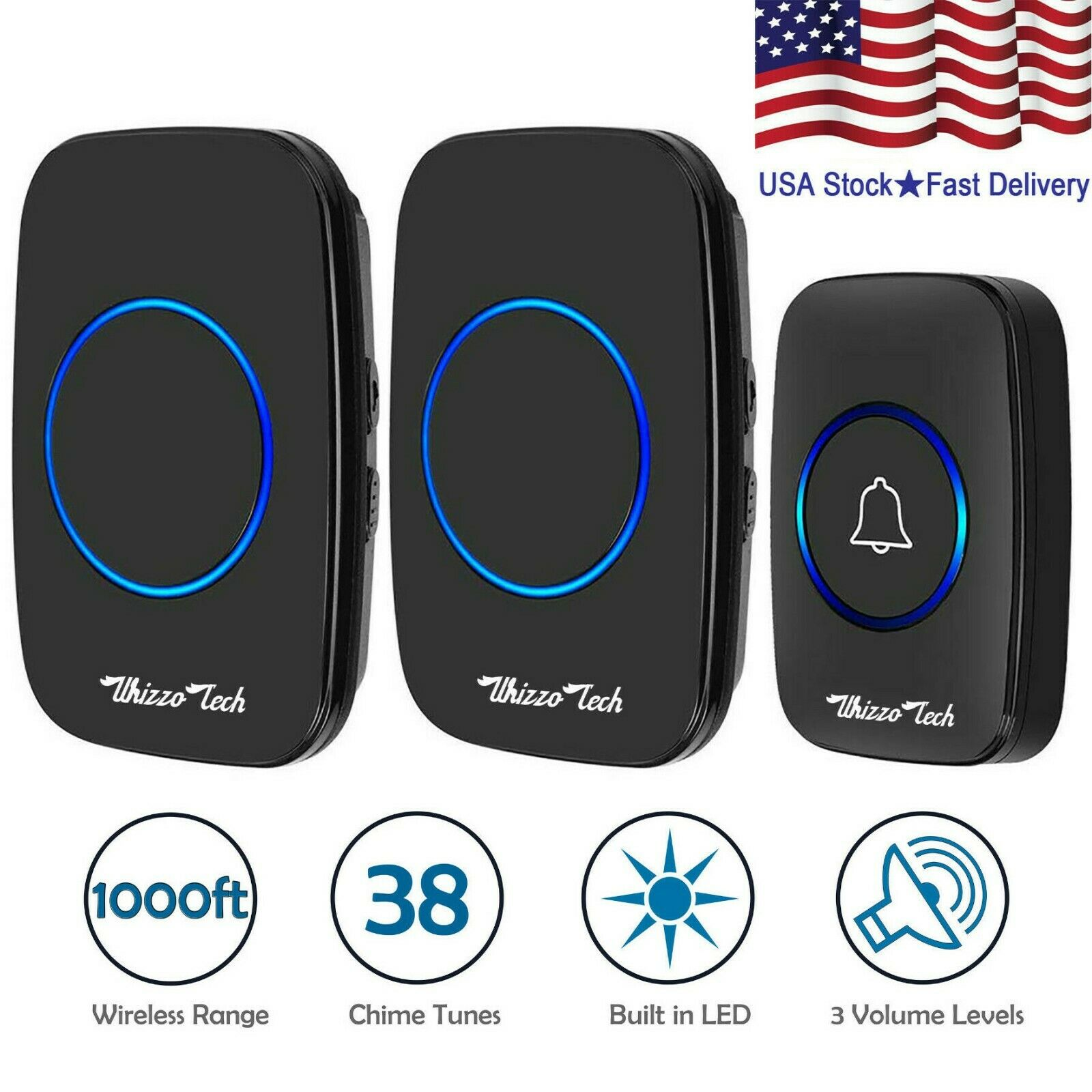 Wireless Doorbell Waterproof 2 Plugin Receiver Adjustable Volume 1000FT 38 Chime Building & Hardware