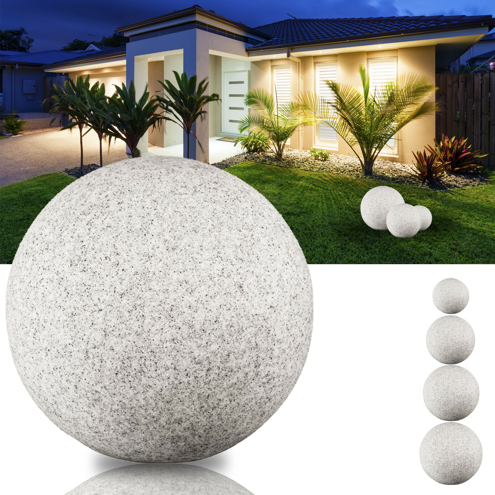 LED Kugelleuchte Leuchtkugel Gartenleuchte Ø20/30/40/50cm Naturstein Optik E27